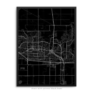 Abbotsford Canada City Street Map Black Poster
