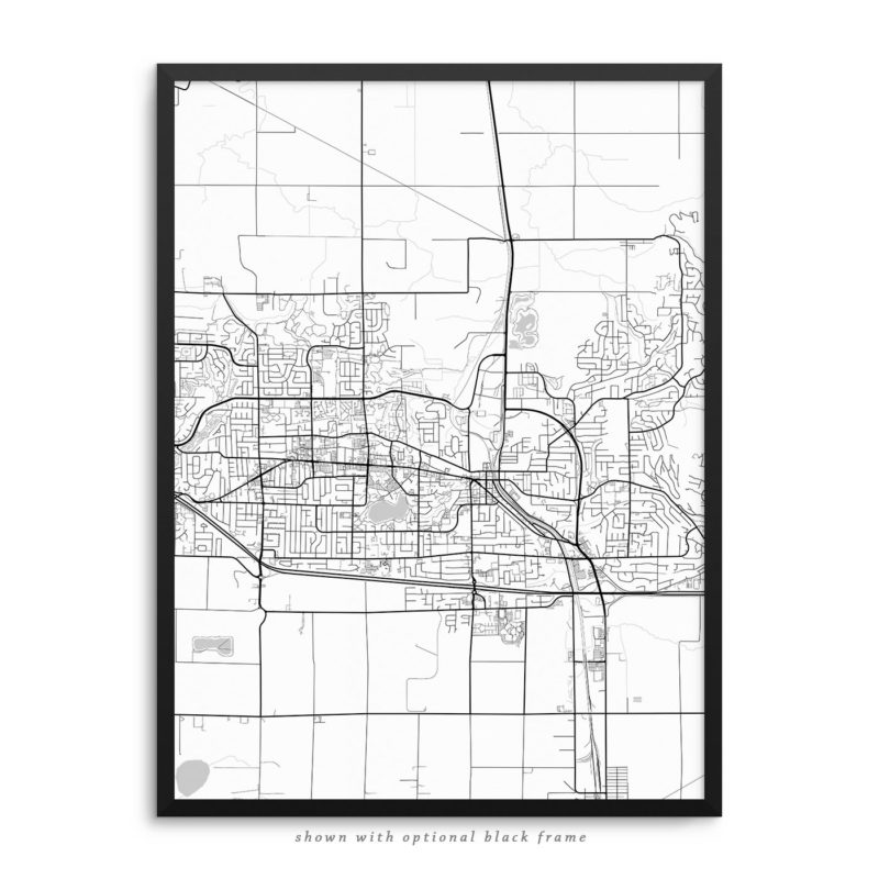 Abbotsford Canada City Street Map White Poster