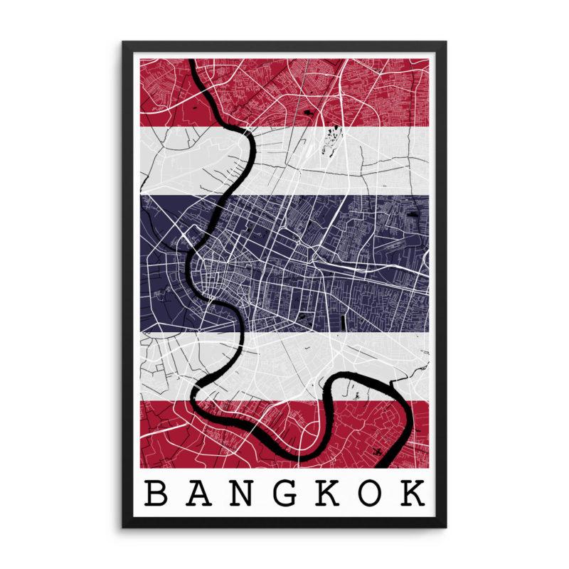 Bangkok Thailand Flag Map Poster