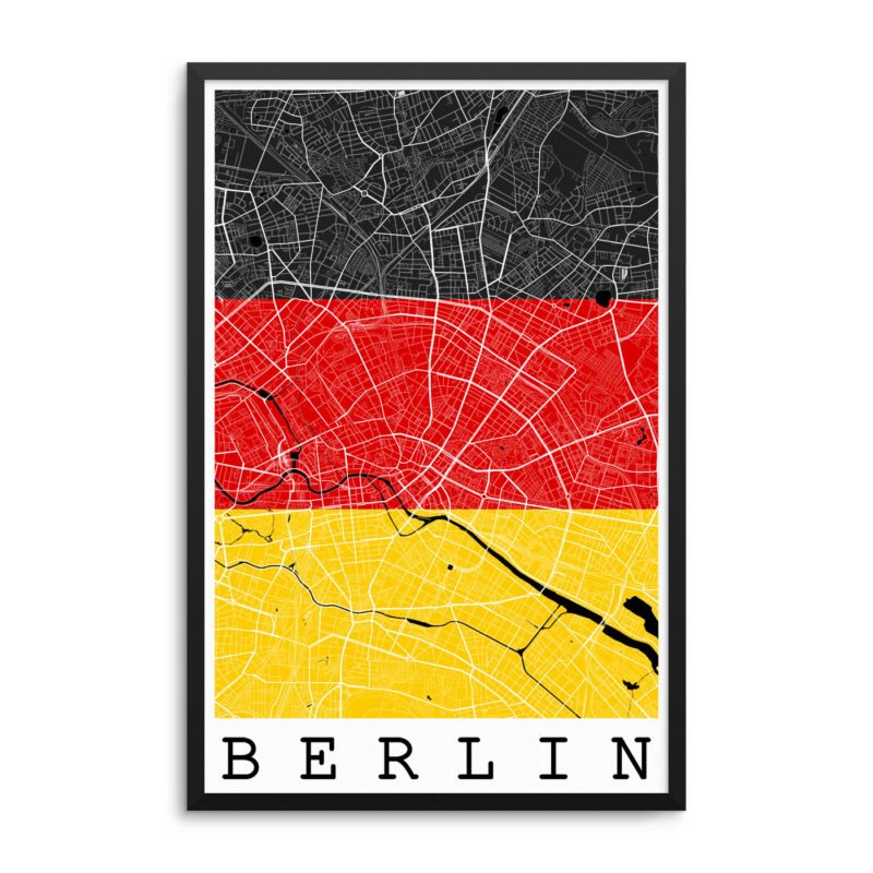 Berlin Germany Flag Map Poster