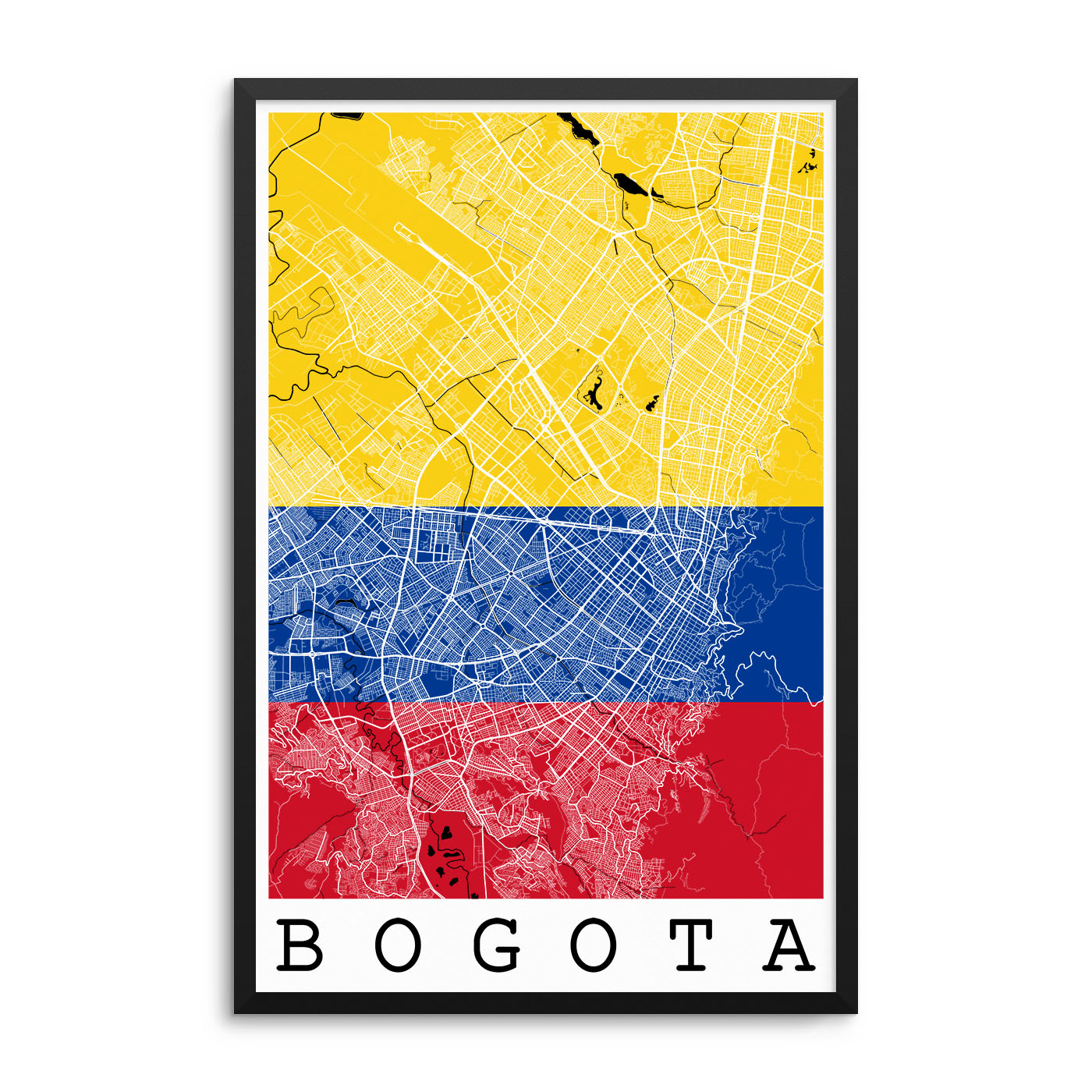 Bogota Colombia Flag Map Poster – City Map Decor