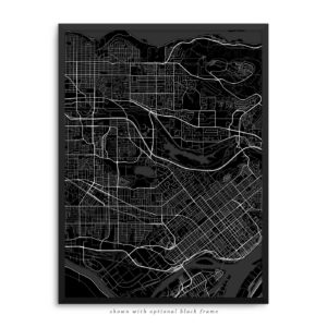 Burnaby Canada City Street Map Black Poster