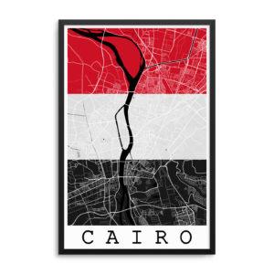Cairo Egypt Flag Map Poster