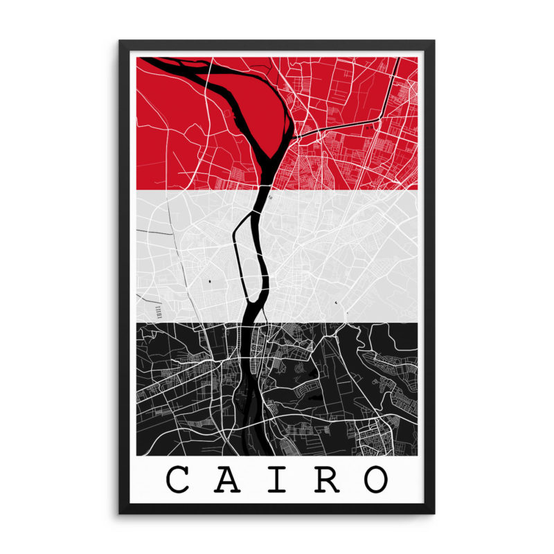 Cairo Egypt Flag Map Poster