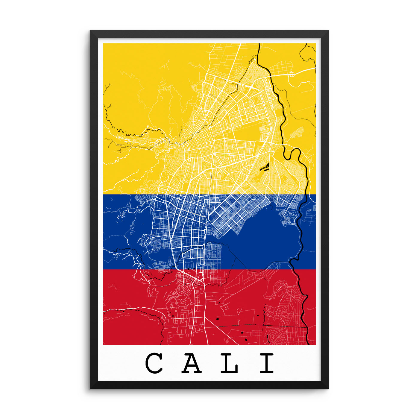 Cali Colombia Flag Map Poster – City Map Decor on
