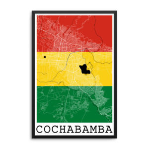 Cochabamba Bolivia Flag Map Poster
