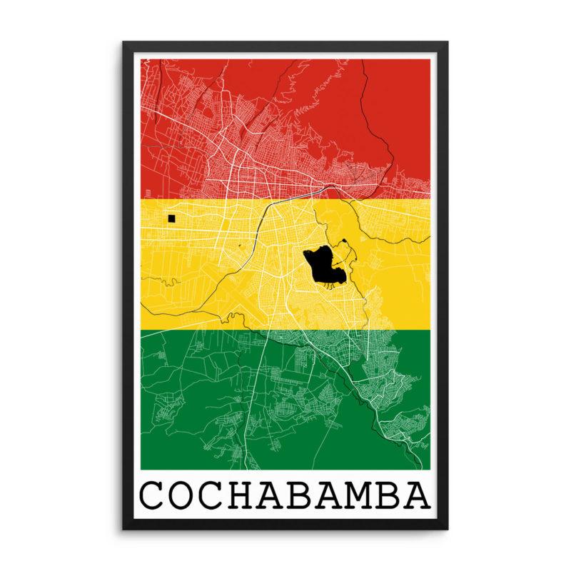 Cochabamba Bolivia Flag Map Poster