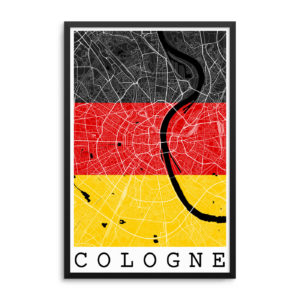 Cologne Germany Flag Map Poster