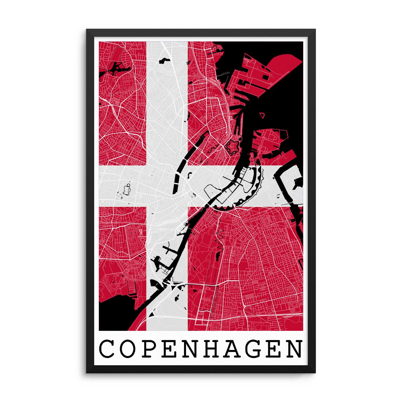 Copenhagen Denmark Flag Map Poster