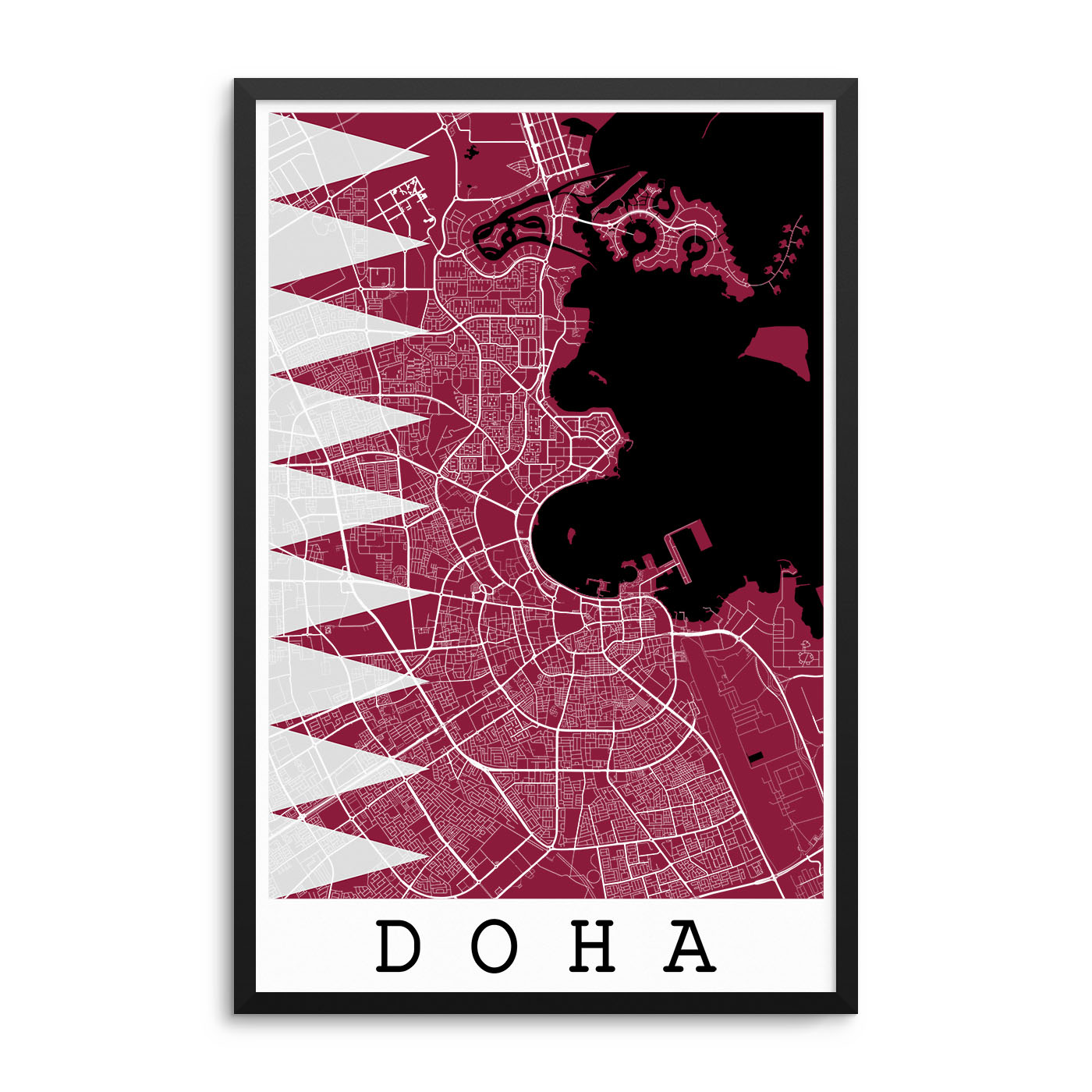 Doha Qatar Flag Map Poster