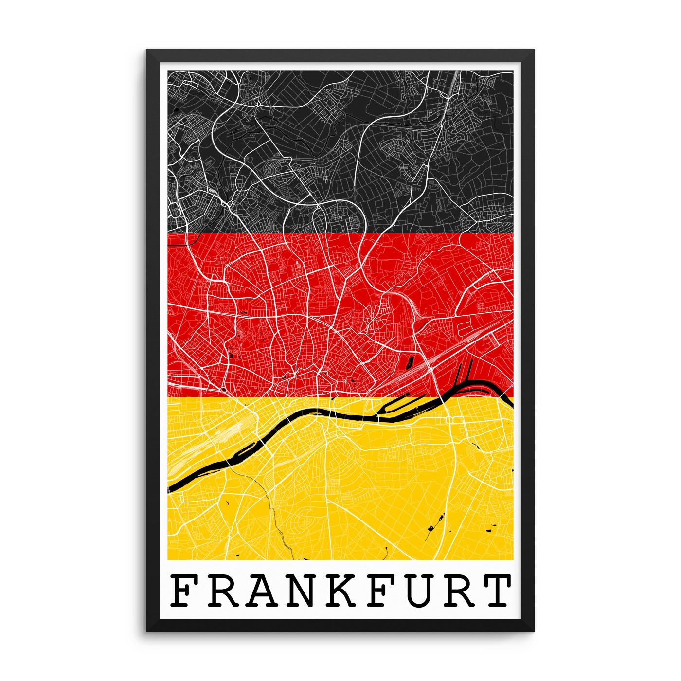 Frankfurt Germany Flag Map Poster City Map Decor
