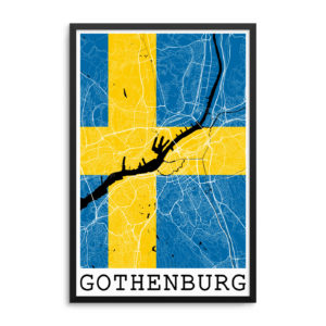 Gothenburg Sweden Flag Map Poster