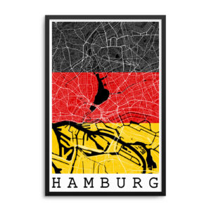 Hamburg Germany Flag Map Art