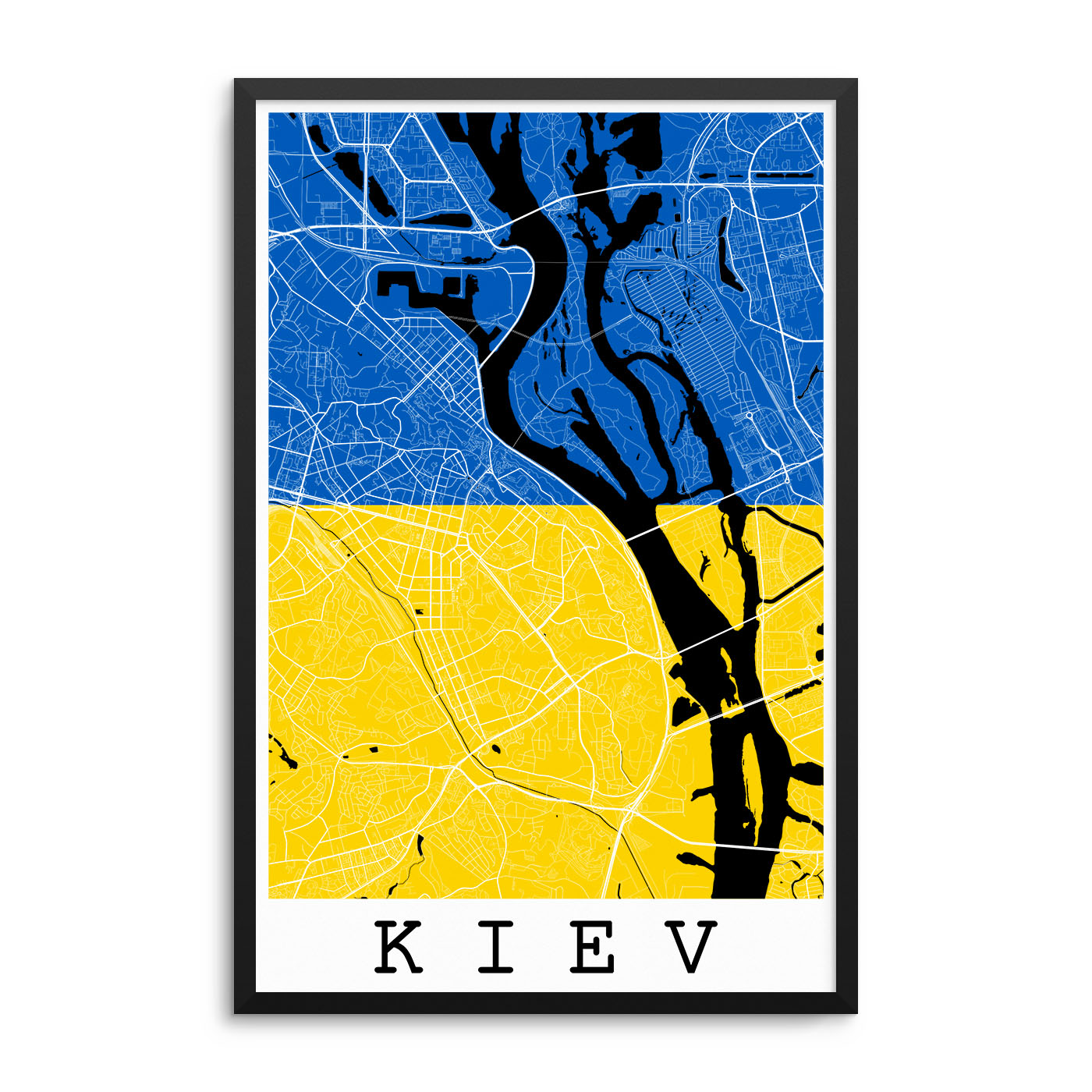 Kiev Ukraine Flag Map Poster