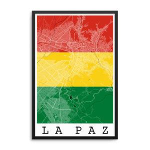 La Paz Bolivia Flag Map Poster