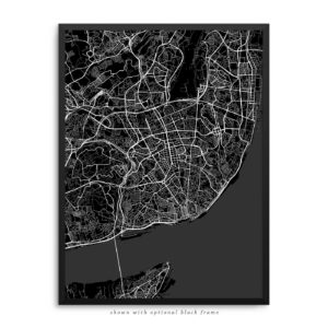 Lisbon Portugal City Street Map Black Poster