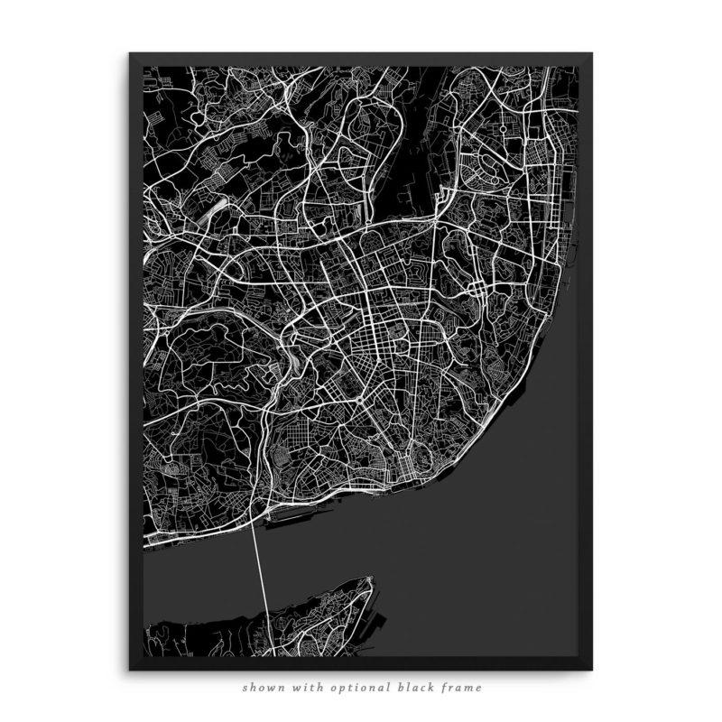 Lisbon Portugal City Street Map Black Poster