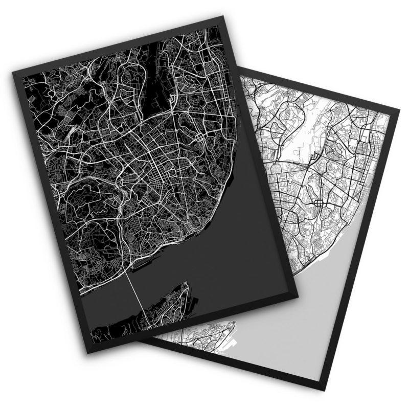 Lisbon Portugal City Map Decor