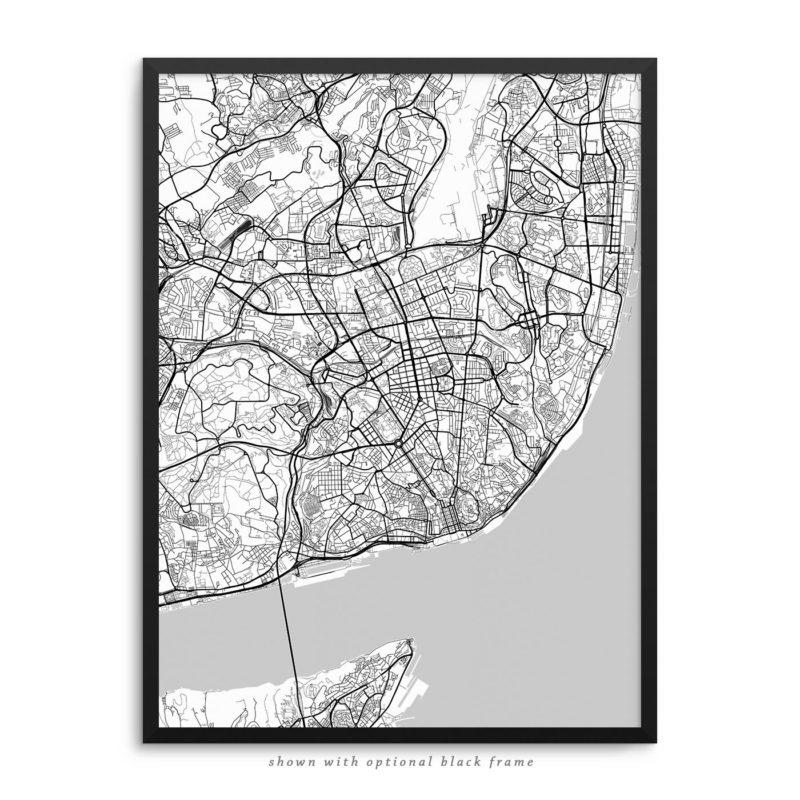 Lisbon Portugal City Street Map White Poster