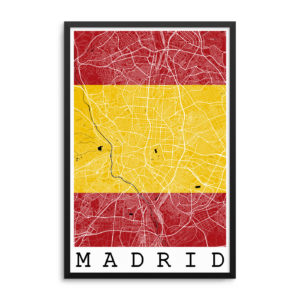 Madrid Spain Flag Map Poster