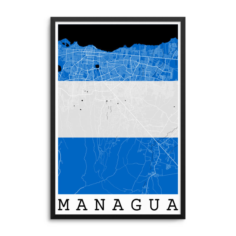Managua Nicaragua Flag Map Poster