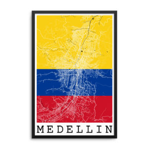 Medellin Colombia Flag Map Poster