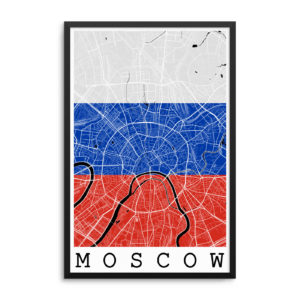 Moscow Russia Flag Map Poster