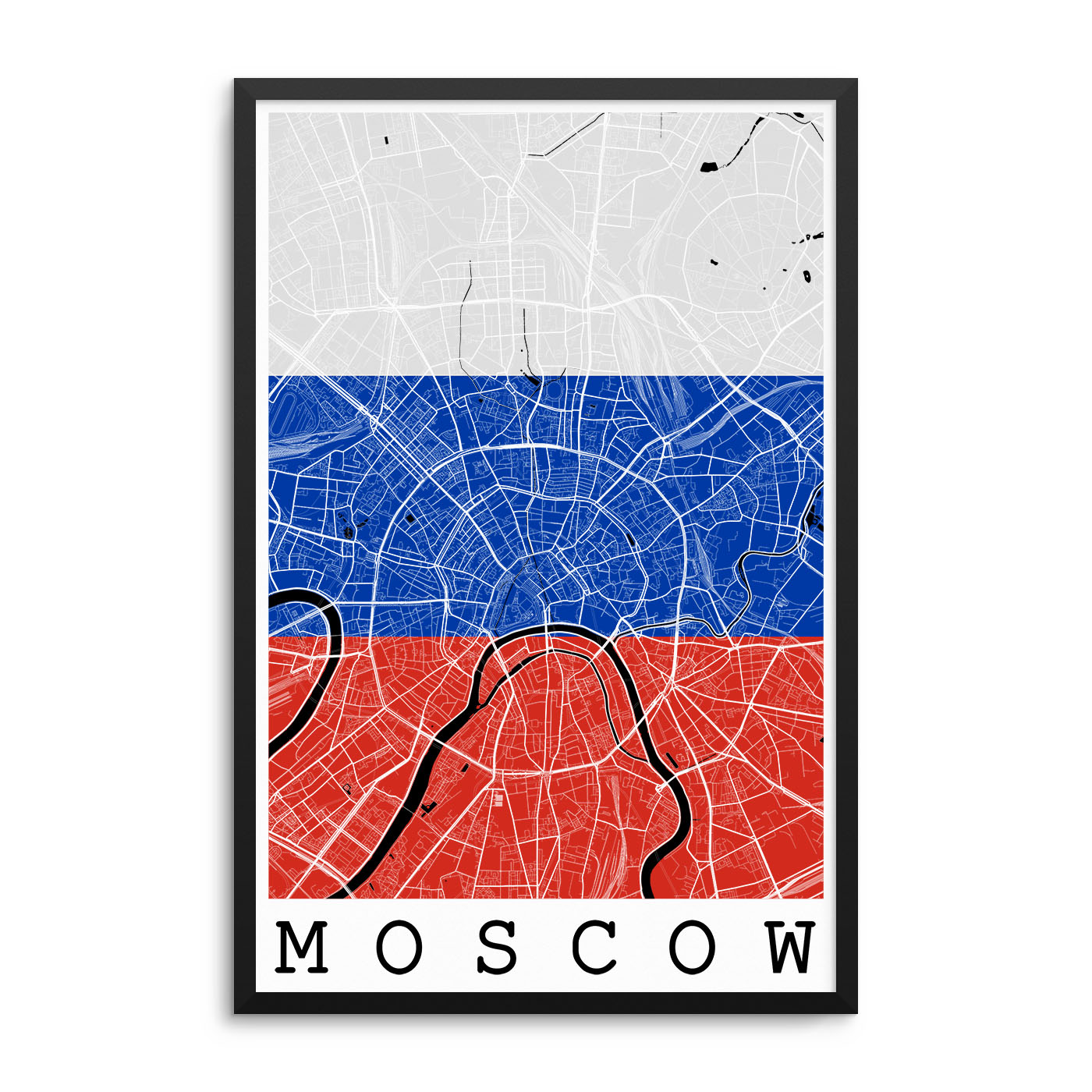 Moscow Russia Flag Map Poster – City Map Decor