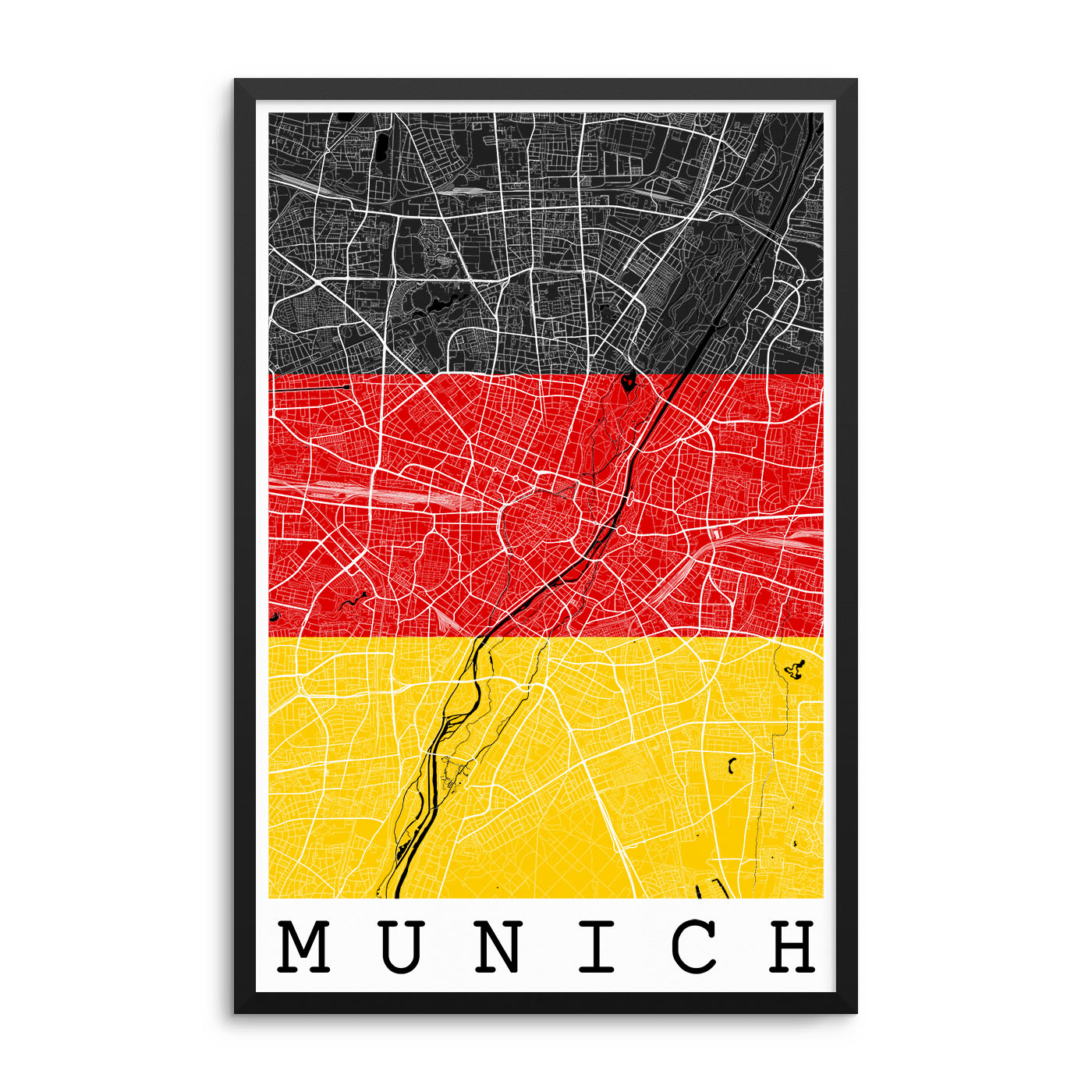 Munich Germany Flag Map Poster