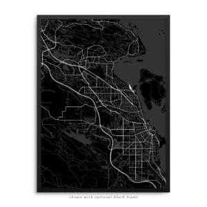 Nanaimo Canada City Street Map Black Poster