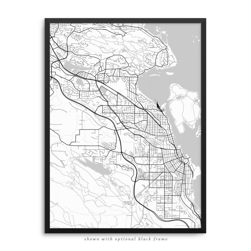 Nanaimo Canada City Street Map White Poster
