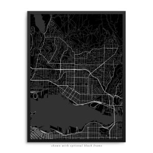 North Vancouver Canada City Street Map Black Poster