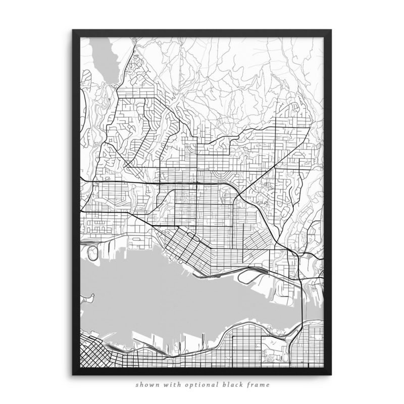 North Vancouver Canada City Street Map White Poster