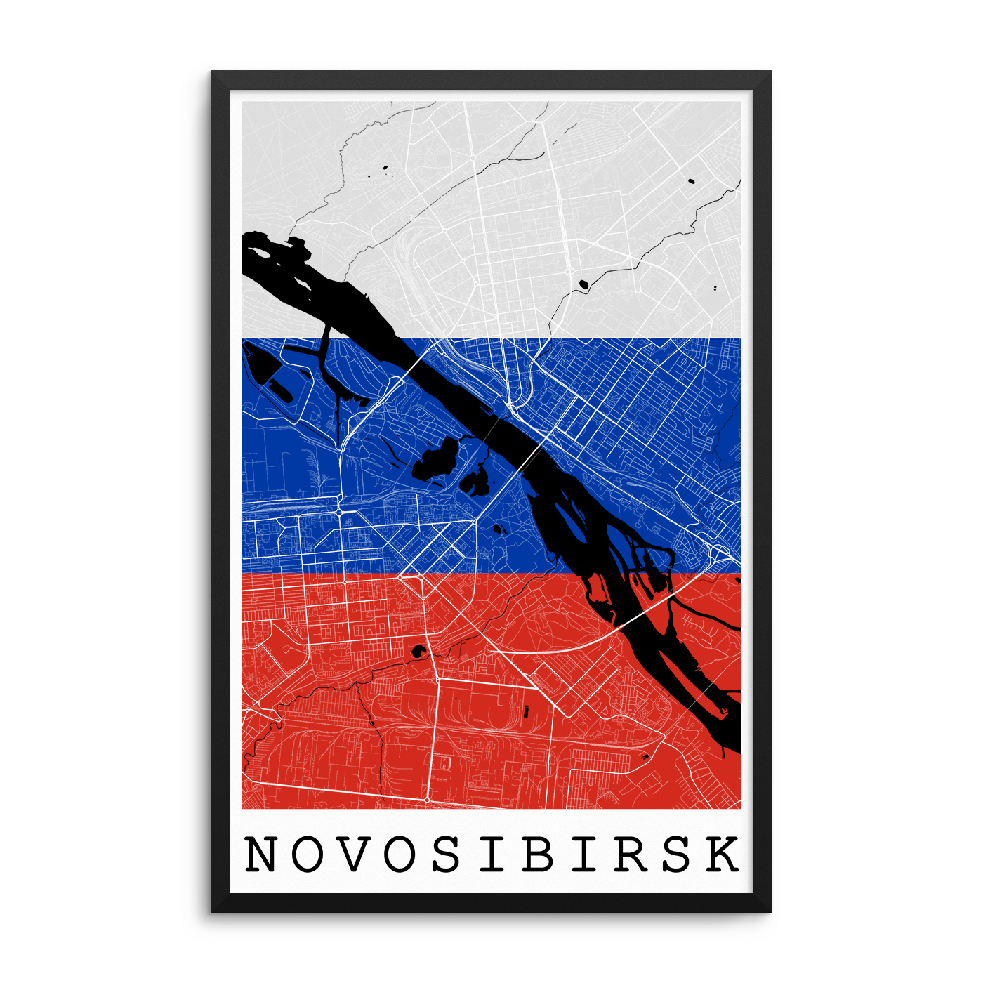 Novosibirsk Russia Flag Map Poster