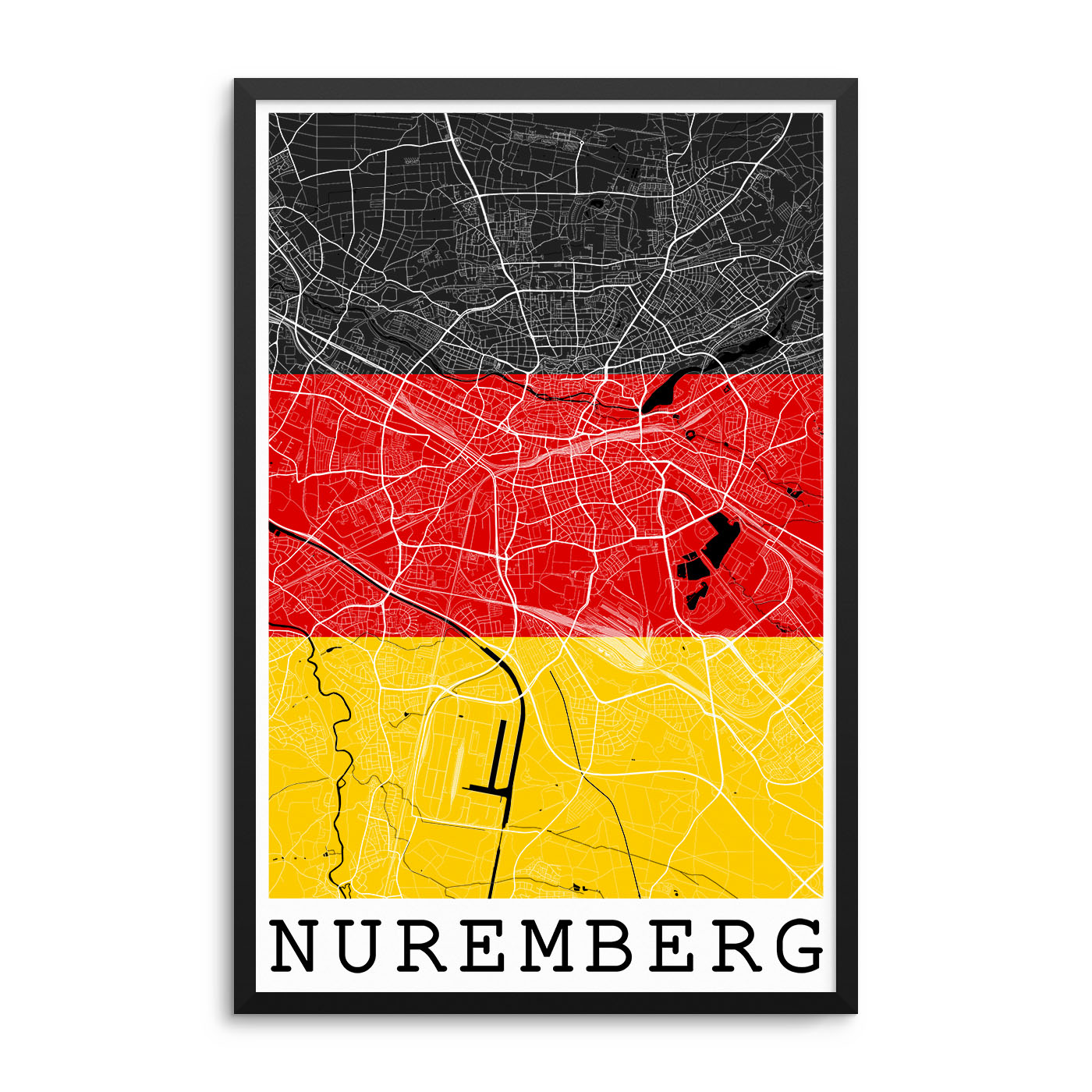 Nuremberg Germany Flag Map Poster