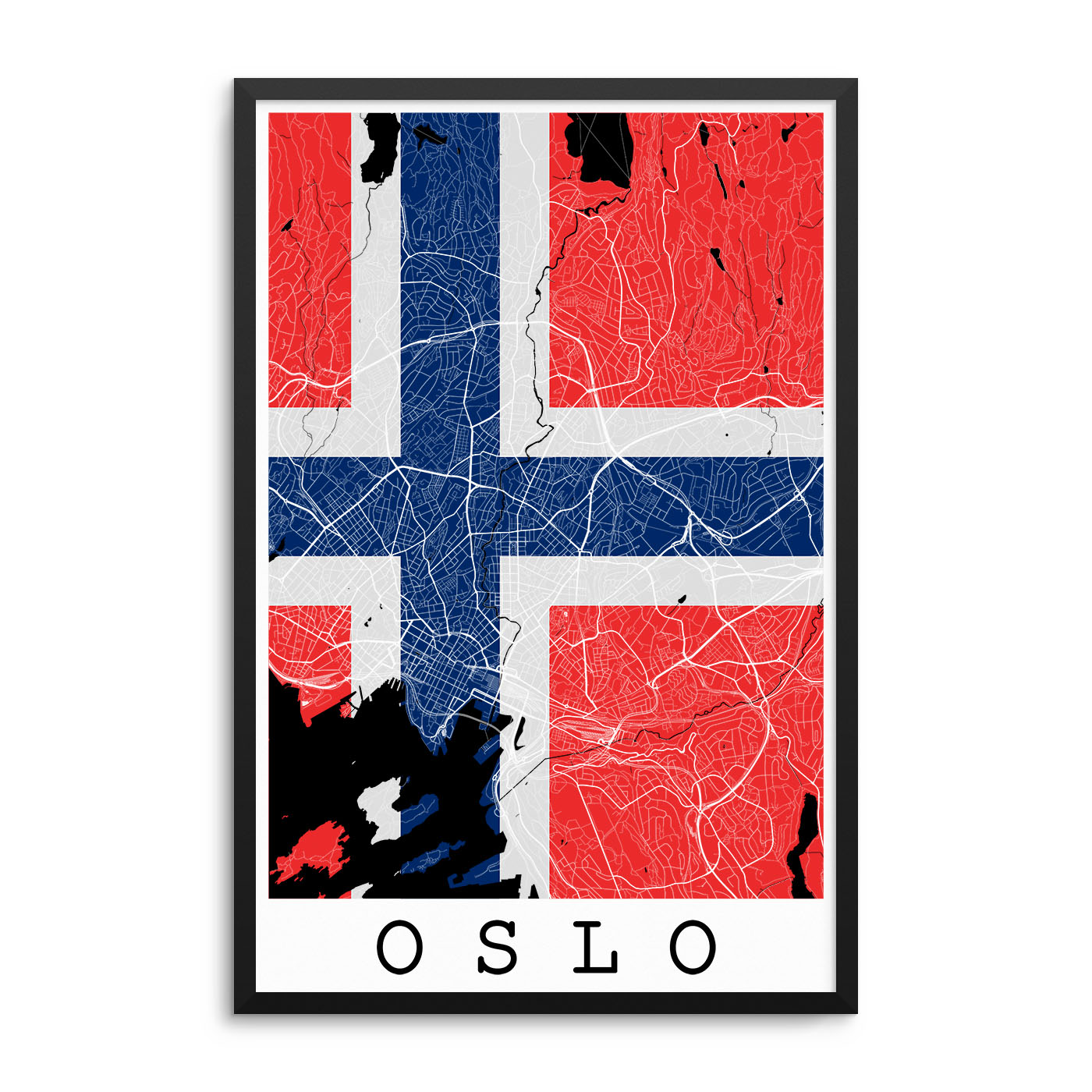 Oslo Norway Flag Map Poster