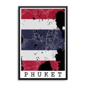 Phuket Thailand Flag Map Poster