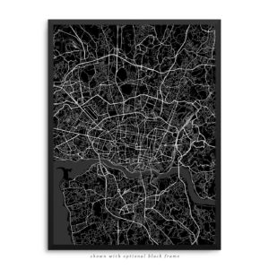 Porto Portugal City Street Map Black Poster