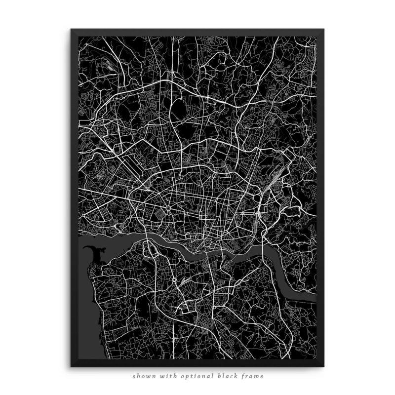 Porto Portugal City Street Map Black Poster