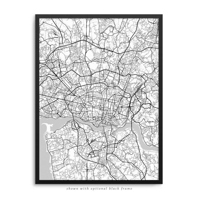 Porto Portugal City Street Map White Poster