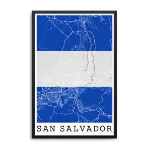 San Salvador El Salvador Flag Map Poster