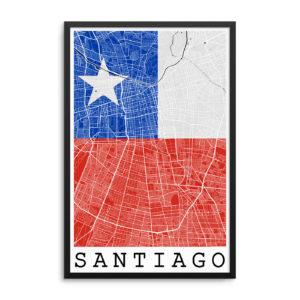 Santiago Chile Flag Map Poster