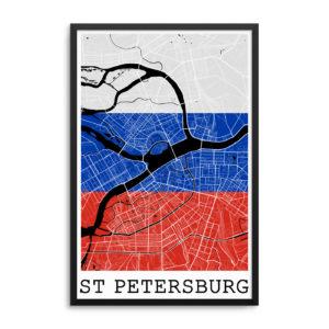 Saint Petersburg Russia Flag Map Poster