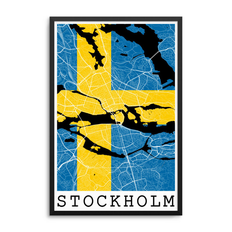Stockholm Sweden Flag Map Poster
