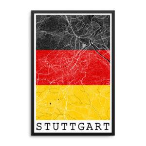 Stuttgart Germany Flag Map Poster