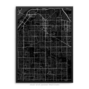 Surrey Canada City Street Map Black Poster