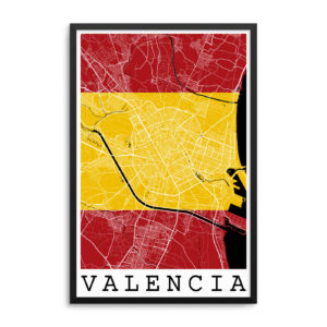 Valencia Spain Flag Map Poster