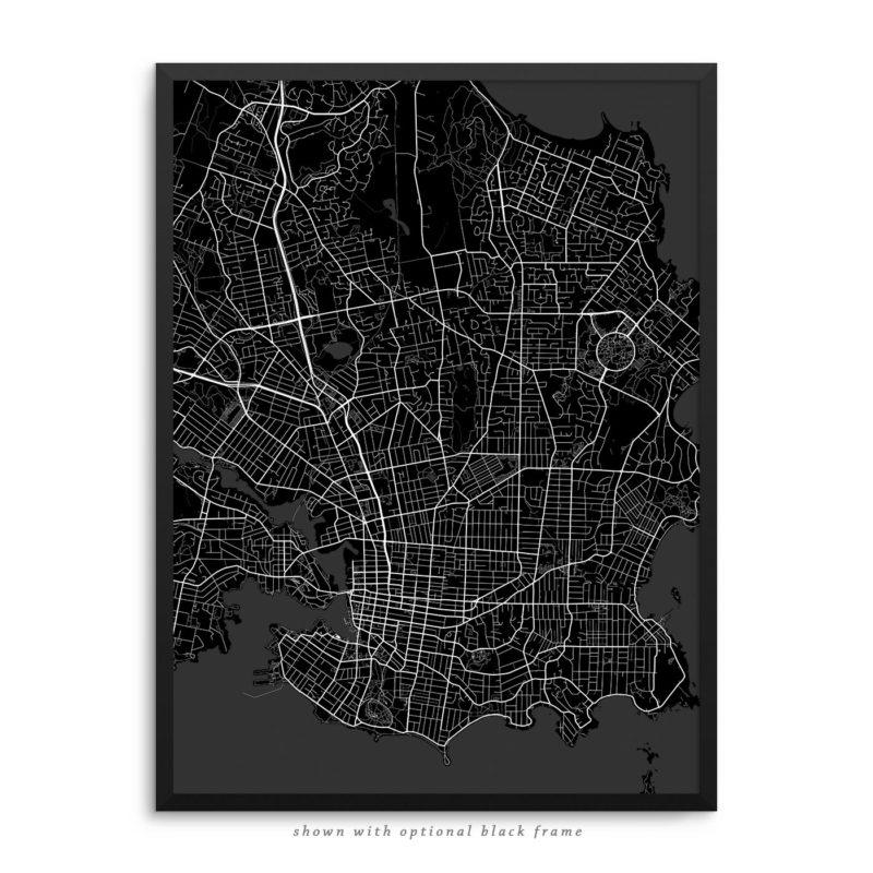 Victoria Canada City Street Map Black Poster