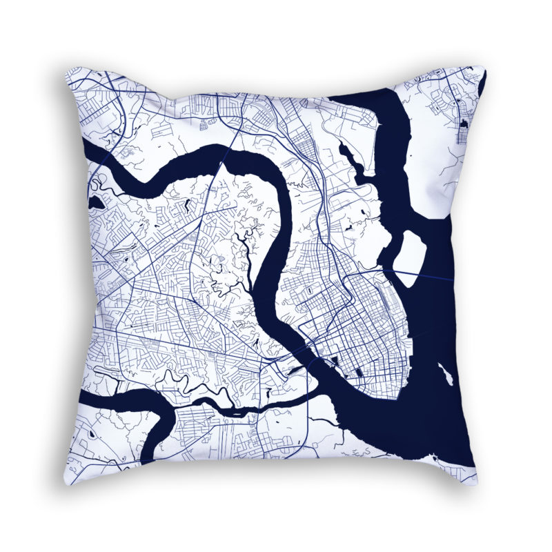 Charleston South Carolina City Map Art Decorative Throw Pillow