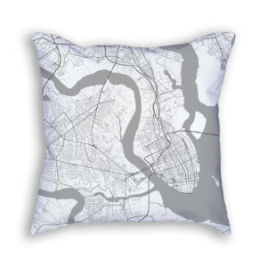 Charleston South Carolina City Map Art Decorative Throw Pillow